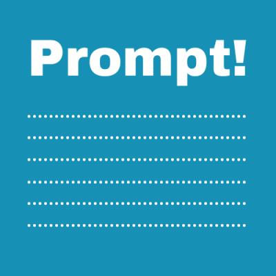 Logo Prompt! op een blauw vlak, onder het woord zes stippellijntjes